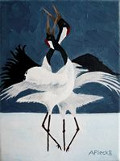 feng shui painting of a courtship dance of cranes, birds